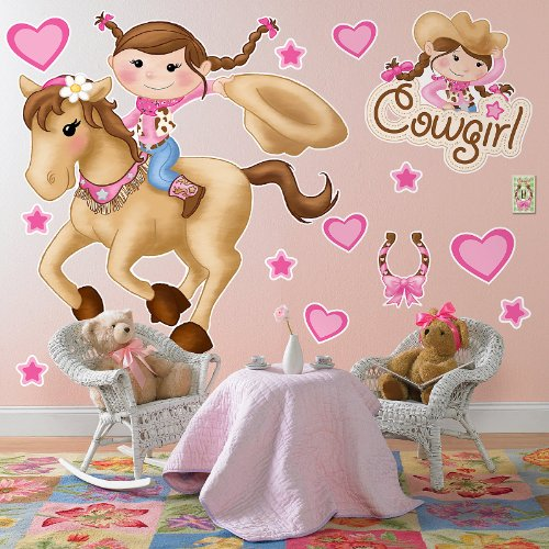 Pink Cowgirl Room Decor - Giant Wall Decals