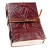 leather journals Fair Trade Tree Of Life Design Leather Journal Diary Notebook for Men Women (HORSE) (TREE DORI)