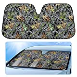 Camo Auto Sun Shade for Car SUV Truck - Forest Camouflage - Double Bubble Foil Jumbo Folding Accordion for Windshield