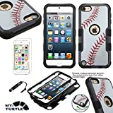 MYTURTLE iPod Touch 7th 6th 5th Generation Case Shockproof Hybrid Hard Silicone Shell Impact Cover with Screen Protector for iPod Touch 7 (2019), iPod Touch 5/6 (2015), Ball Sports Baseball Tuff