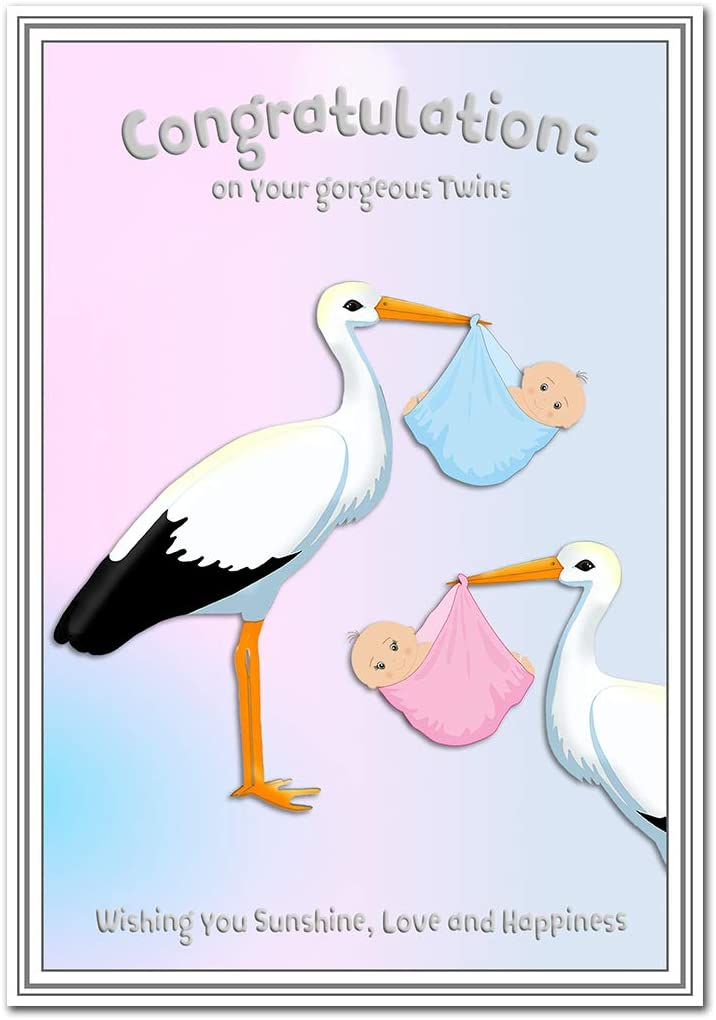 Twin Birth Card Newborn Twins New Baby Boy And Baby Girl Congrats Congratulations On Birth Brother And Sister Quality Greeting Good Wishes Blank Inside To Write Your