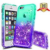 iPhone 5S Case, iPhone SE Girly Cases with HD Screen Protector, Atump Fun Glitter Liquid Sparkle Diamond Cute TPU Silicone Protective Phone Cover Case for iPhone 5 Green/Purple