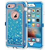 iPhone 6S Plus Case, iPhone 6 Plus Case, Anuck 3 in 1 Hybrid Heavy Duty Defender Case Sparkly Floating Liquid Glitter Protective Hard Shell Shockproof TPU Cover for iPhone 6 Plus/6S Plus - Blue