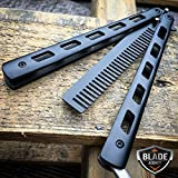 Practice BALISONG METAL BUTTERFLY COMB BRUSH Trainer For Practical Use iCareYou Durable Knife BLACK