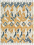 Stone & Beam Modern Global Ikat Wool Area Rug, 5 x 8 Foot, Blue