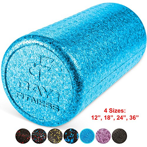 High Density Muscle Foam Rollers by Day 1 Fitness - Sports Massage Rollers for Stretching, Physical Therapy, Deep Tissue and Myofascial Release - For Exercise and Pain Relief - Solid Blue, 12'