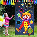 Outus Carnival Toss Games Clown Banner with 3 Bean Bags Circus Bean Bag Toss Game for Carnival Party Activities, Great Carnival Decorations, Circus Suppliers for Kids and Adults