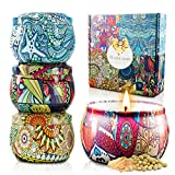YOUIGE Scented Candles Gift Set, Natural Soy Wax 4.4 Oz Aromatherapy Candles, Soy Candles Gifts for Women Travel Candles in Tins Candles with Pure Essential Oil, Candles Womens Gifts 4 Pack