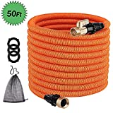TACKLIFE [Classic Essential 50ft Expandable Garden Hose with Double Latex Core, 3/4' Brass Connectors, No-Kink Flexible and No-Leak Best Water Hose-GGH1A