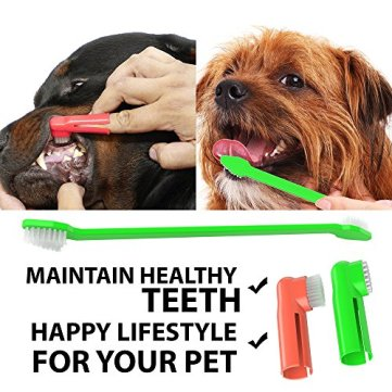 Dog-Toothpaste-and-Toothbrush-Set-REMOVES-FOOD-DEBRIS-Double-Sided-with-Long-Curved-Handle-SUPER-EASY-CLEANING-Best-Soft-Silicone-Pet-Toothbrush-for-Cats-And-Dogs-EXPANDABLE-FINGER-ENTRY-Sma
