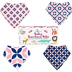 Fluffy Dreamz Baby Bandana Drool Bibs - Bandanas for Girls and Boys with Absorbent Organic Cotton Non-Allergenic for Drooling & Teething - Adjustable Size