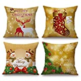 18 inch Christmas Decorative Throw Pillow Covers Xmas Deer Snowman Socks Pillow Case Set of 4 (Gold)