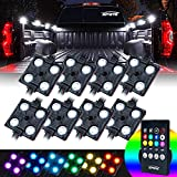 Xprite RGB LED Truck Bed Lights Kit w/Wireless Remote Control,8 PC Multi-Color Rock Rail Light Neon Lighting Pod for Trucks RV Boat Cargo Pickup Bed Underbody System