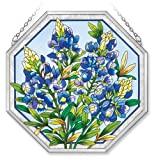 Amia Octagon Window Décor Panel Features a Bluebonnet Design, 15-Inches Width by 15-Inches Length, Handpainted Glass
