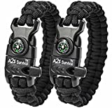"A2S Paracord Bracelet K2-Peak – Survival Gear Kit with Embedded Compass, Fire Starter, Emergency Knife & Whistle – Pack of 2 - Quick Release Slim Buckle Design (Black / Black 9"")"