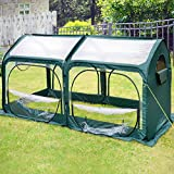 Quictent Pop up Mini Greenhouse for Indoor Outdoor, 98'x49'x53' Portable Green House with 600D Oxford Fabric + PVC Cover, 4 Zipper Doors 6 Stakes Garden Plant Greenhouse Passed SGS Test (Green)