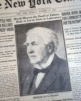 Amazon.com: THOMAS ALVA EDISON Electric Light Bulb Phonograph Inventor DEATH  1931 Newspaper THE NEW YORK TIMES, October 19, 1931.: Entertainment  Collectibles