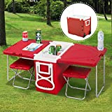 New Treandy Camping Table & 2 Chairs Multi Function Rolling Cooler Picnic Camping Table Red Is Perfect For A Trip To The Beach A Trip To The Park Or A Backyard Party