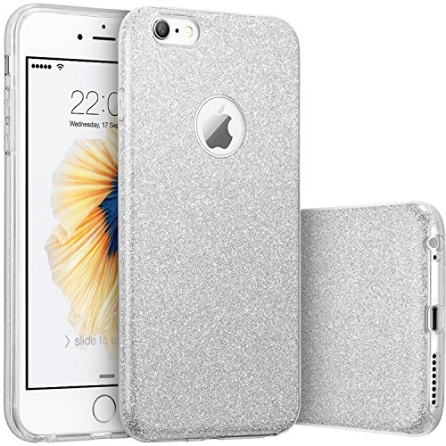 AlphaCell Case compatible with iPhone 6/6S, [Anti-Discoloration, Durable TPU Rubber] Twinkling Soft Stylish Design with Shiny Sparkling Glitter Stars