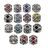 RUBYCA 20Pcs Silver Color Tibetan Charm Beads Crystals Rhinestones fit European Charm Bracelet Mix Color