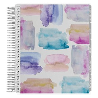 Erin Condren 12-Month July 2019 - June 2020 Coiled LifePlanner - Watercolor Crystals, Horizontal (Neutral Layout)