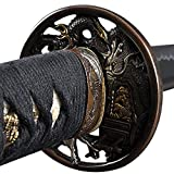 Handmade Sword - Samurai Katana Swords, Practical, Hand Forged, 1060 Carbon Steel, Heat Tempered, Full Tang, Sharp, Dragon Tsuba with Gold and Silver, Black Wooden Scabbard