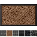 GRIP MASTER Durable, Tough All-Natural Rubber Doormats, 29x17 Size, Waterproof Commercial High Traffic Indoor Outdoor Door Mat, Boot Scraper Mats, Entryway, Low-Profile Easy Clean, Beige Basket Weave