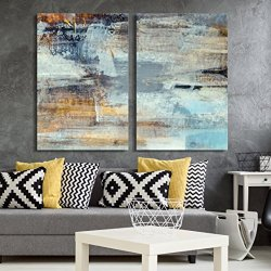 wall26 – 2 Panel Canvas Wall Art – Abstract Grunge Color Composition – Giclee Print Gallery Wrap Modern Home Decor Ready to Hang – 16″x24″ x 2 Panels