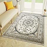 "5 x 7 Area Rug Ivory & Blue Oriental Medallion Rug for Living Room Dining Room Bedroom Transitional Vintage Distressed Design [ 5' 3"" x 7' 3"" ]"