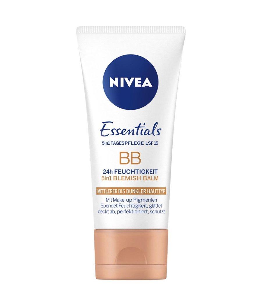 Nivea Essentials BB Cream 5in1 mittlerer bis dunkler Hauttyp im 1er Pack (1 x 50 ml), getönte Tagescreme, Feuchtigkeitscreme für ein ebenmäßiges Hautbild