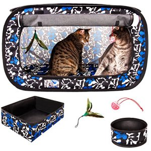 CheeringPet, Cat Travel Cage: Portable Pop Up Pet Crate with Collapsible Litter Box, Foldable Feeding Bowl, Hanging Feather Teaser and Ball, Carrying Bag, Extra Large 32″ X 19″ X 19″