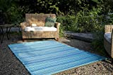 Fab Habitat Reversible Rugs   Indoor or Outdoor Use   Stain Resistant, Easy to Clean Weather Resistant Floor Mats   Cancun - Turquoise & Moss Green, (6' x 9')