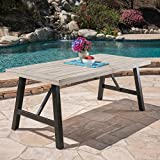 Great Deal Furniture 303741 Borocay Outdoor Light Grey Finished Acacia Wood Dining Table, Wash PU/Black
