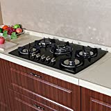 WindMax(R) 30' Tempered Glass 3.3KW/h Built-in Kitchen 5 Burner Oven Gas Cooktops Stove Cook Top