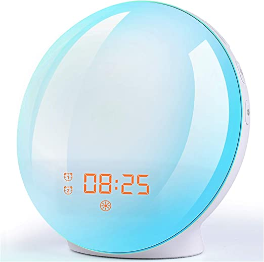 Amazon Com Wake Up Light Sunrise Alarm Clock 7 Colors Bedside Night Light With Sunrise Sunset Simulation Dual Alarms Snooze Function Fm Radio Clock 7 Natural Sounds Ideal Gift For Kids Adults Kitchen