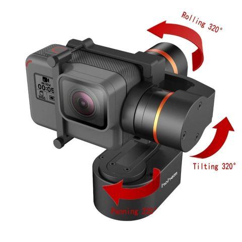 Hohem XG1 3軸ジンバル GoProスタビライザー•GoProジンバル アクションカメラHero 7/6/5/4/3 Dji Osmo camなどに適用•日本語取扱説明書 チルト ロール パンの角度