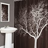 Splash Home Tree Polyester Fabric Shower Curtain, 70' x 72' inches, Chocolate, 70 x 72, Brown