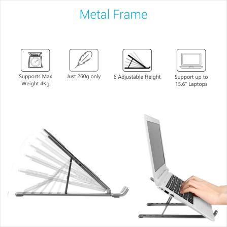 Adjustable Metal Frame Laptop Stand For All Laptops & MacBooks
