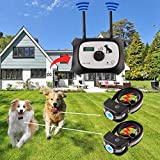 OKPET Dog Wireless Fence Pet Containment System, Safe Effective Beep/Shock Dog Fence, Adjustable Control Range 1000 Feet & Display Distance, Rechargeable Waterproof Collar (2 Dog System)