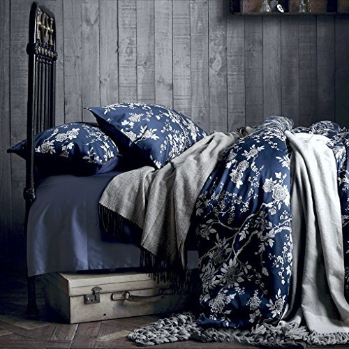 Blue on Blue Always Works: Mix an Asian Decor them with a Casually Designed Space - Eastern Floral Chinoiserie Blossom Print Duvet Quilt Cover Navy Blue Tan White Asian Style Botanical Tree Branches Ornamental Drawing 400TC Egyptian Cotton 3pc Bedding Set (King)