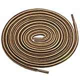 Birch 1/5' Thick Tough and Heavy Duty Round Boot Laces for Boots and Hiking Shoes. (54'(138cm)-M, Brown/Tan)