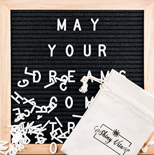 Black Felt Letter Board 10x10 inches with Natural Oak Wood Frame, 680 White Letters with 340 Glow-in-the-Dark Letters, Changeable Message Board Sign with Numbers, Symbols and Wall Mount