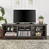 WE Furniture 70' Espresso Wood TV Stand Console for Flat Screen TV's Up to 50' Entertainment Center
