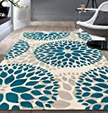 Rugshop Circles Design Area Rug, 5' x 7', Blue