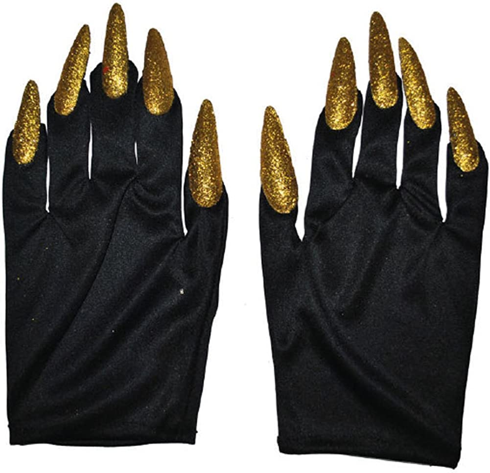 Amazon.com: Halloween Costume Witch Nail Gloves, Black with Gold Nails,  One-Size, 1 Pair: Clothing
