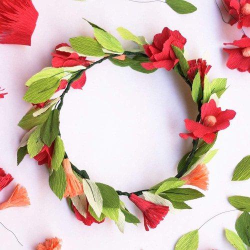Crepe flower wreath