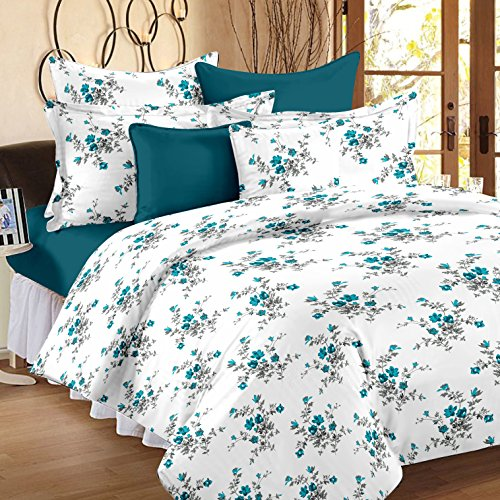61ePU3D7WjL - Ahmedabad Cotton Comfort 160 TC Cotton Double Bedsheet with 2 Pillow Covers - Blue