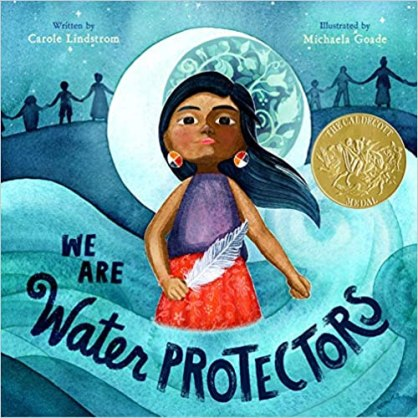 cover book image of an Indigenous Woman standing in the middle of the ocean.  She is wearing a short-sleeved purple top with a red skirt.  There is a white feather in her right hand.  The moon is shining brightly behind her head.