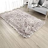 OJIA Deluxe Soft Faux Sheepskin Shaggy Area Floor Rugs Children Play Carpet for Living & Bedroom Sofa (3 x 5ft, Light Coffee)