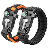 2PCS PACK Multifunctional Paracord Bracelet, Sahara Sailor Outdoor Survival Kit W Compass Flint Fire Starter Scraper Whistle for Hiking Camping Emergency More (8 inch Black/Orange)